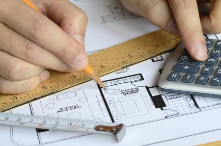 Analyzing the construction plan concept of planning and audit Stock Photo - 17264649