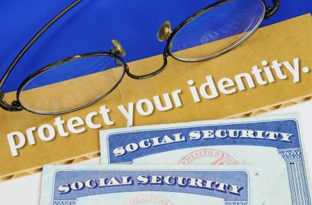 social security: Protect personal identity concept of privacy theft Stock Photo