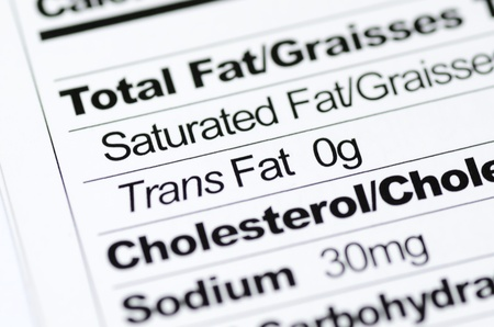 Nutrition label focused on Trans Fat content concept healthy eating photo