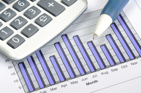 charting: Business charting concept of financial report