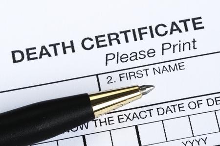 死亡証明書 写真素材