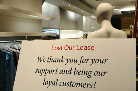 cerrando negocio: Perder los conceptos de arrendamiento del almac�n de empresa de cierre
