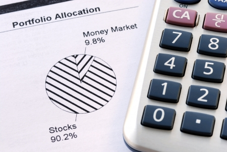 prudent: Portfolio allocation illustrates the asset in a pie chart Stock Photo