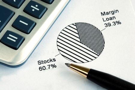 mutual funds: Portfolio allocation illustrates the asset in a pie chart Stock Photo
