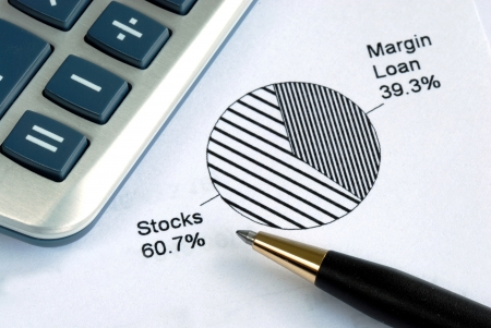 Portfolio allocation illustrates the asset in a pie chart Stock Photo