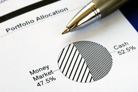 diversify: Portfolio allocation illustrates the asset in a pie chart Stock Photo