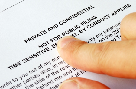 confide: Focus on the privacy and confidential issues Stock Photo
