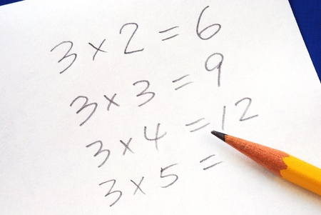 Practice the multiplication table with a pencil Stock Photo - 17710492