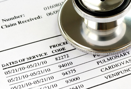 medical notes: Bill from the doctor concepts of rising medical cost