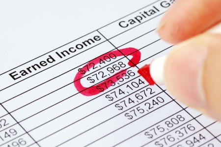 Circle a number on the earning spreadsheet with a red pen Stock Photo - 17710480