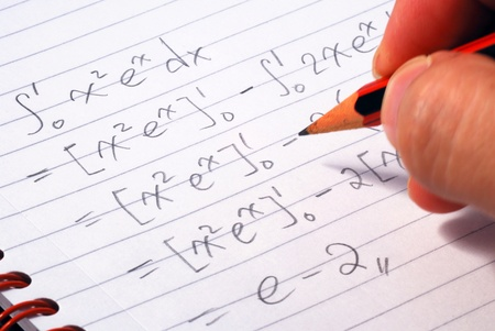 Work on a mathematics question concepts of education and knowledge Stock Photo - 17710487