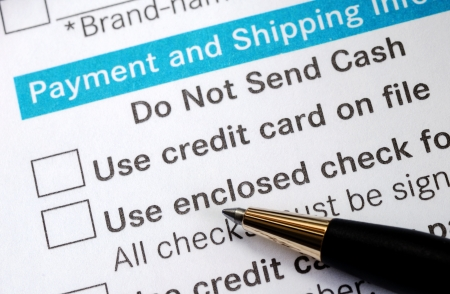 Make payment with Credit card or check concept online shopping  Stock Photo - 17710489