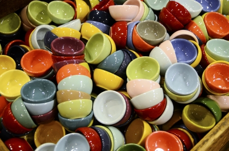 A diverse collection of cups with various colors Stock Photo