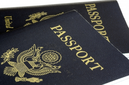 United States passport front cover concept of traveling
