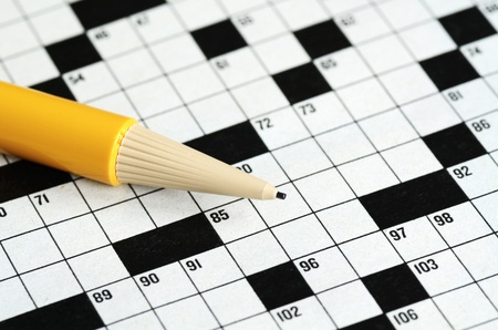 Fill the cross word puzzle concept of determinating the next move and strategy Stock Photo