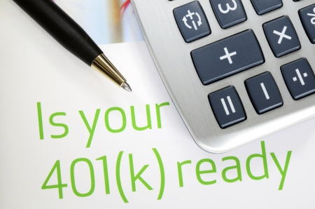 Focus on the investment in the 401K plan concept of finance and retirement photo