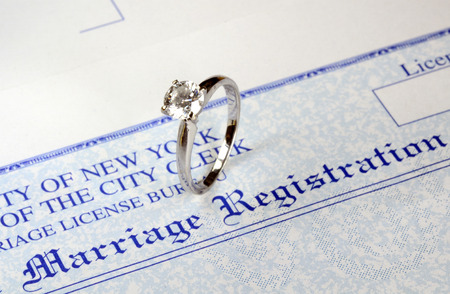 Marriage and money concept of high wedding cost and divorce photo
