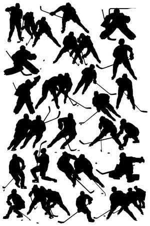 hokej na lodzie: Sylwetki graczy - Hockey drużyny Ilustracja