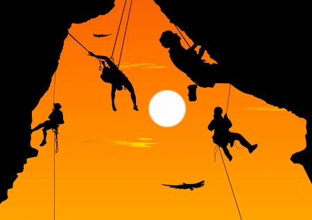ledge: Climbing the rock at sunset