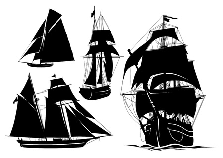 sail boats: Silhouette of a ship, yacht, boat Illustration