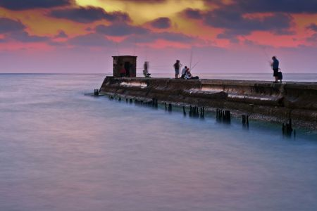 long exposure of the old port in tel aviv photo