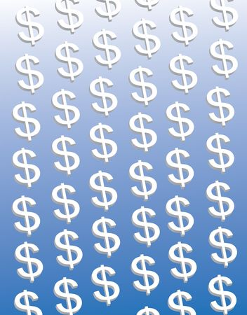 corporate greed: Dollars on blue Stock Photo