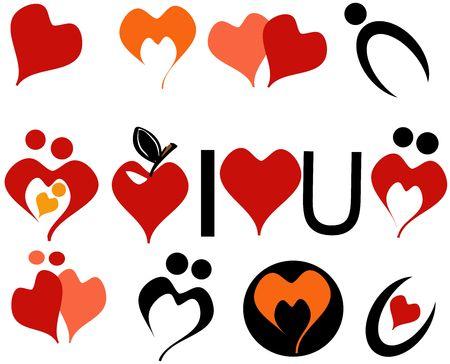 simple logo: Love Icons on white Stock Photo