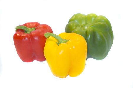 Yellow, Red, Green Bell Peppers, fresh