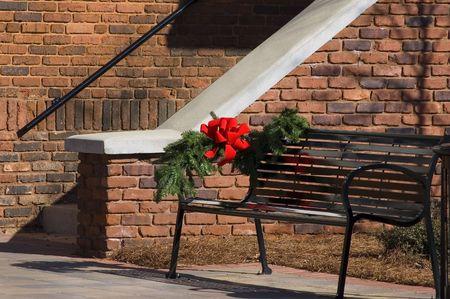 Christmas bow on a building photo
