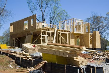 roof framing: New Home Consrtuction Stock Photo