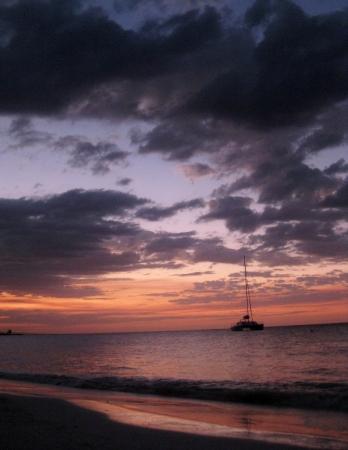 Catamaran during Jamaican sunset