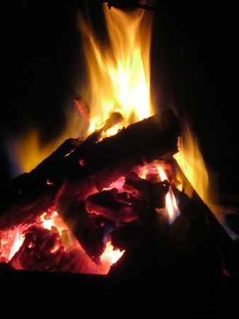 close up of bonfire