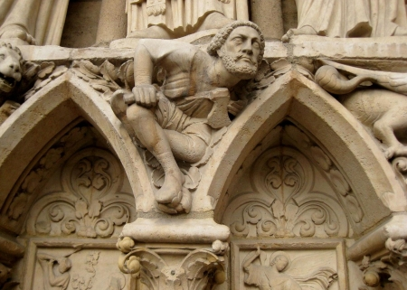 grotesque carving on Notre Dame Catherdral  Paris