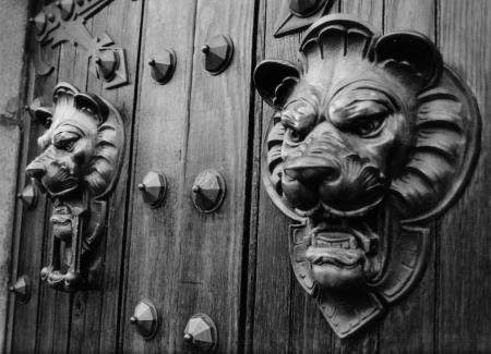 lion heads on door
