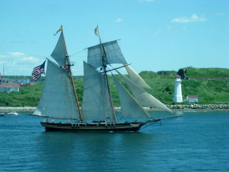 schooner: schooner in full sail, Halifax Nova Scotia, Canada Stock Photo