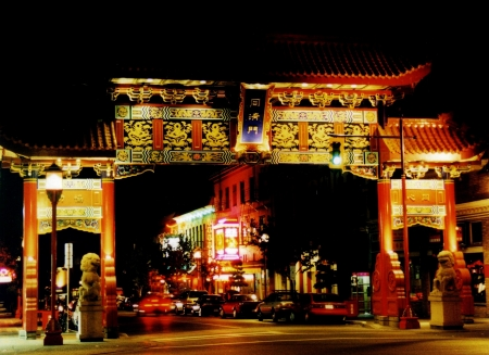 Chinese entrance gate at night