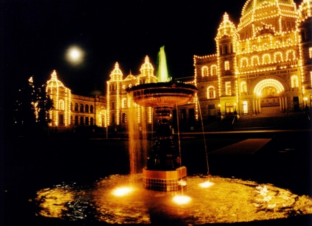 dramatic lighting of fountain at night Banco de Imagens