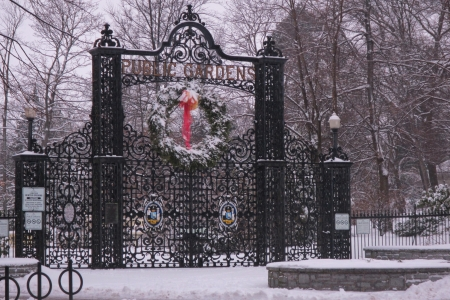 Snow covered gate to Halifax Public Gardens in the winter  Banco de Imagens