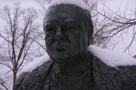 Detail of Winston Churchill statue in Halifax Nova Scotia Stock Photo