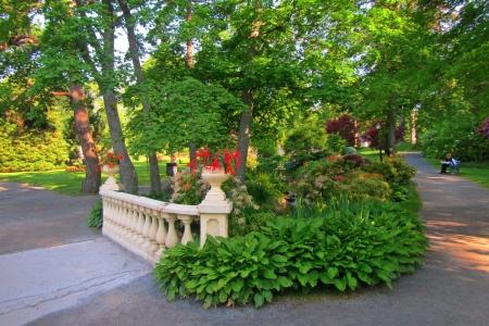 Balustrade fenced walking bridge in Victorian Garden