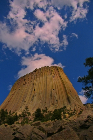 encounters: Devil s Tower National Monument in Wyoming has an appearance of a volcano with the clouds appearing as smoke rising from its center