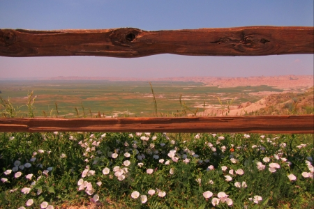 A wooden fence frames a view of South Dakota s unique geography with wild flowers blooming in the foreground Stock Photo - 22116390
