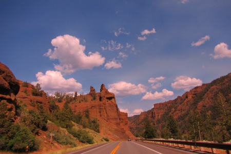 Road from Yellowstone to Cody Wyoming Stock Photo