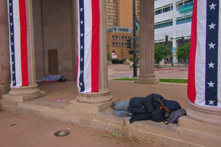 Homeless taking shelter in Denver City  Stock Photo