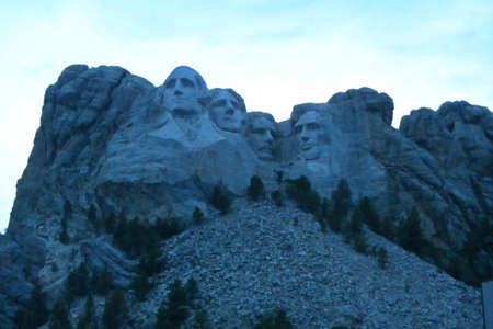 Mout Rushmore after the sunset appears blue
