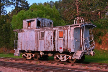 Beautiful old and weathered antique train caboose in South Dakota  Stock Photo