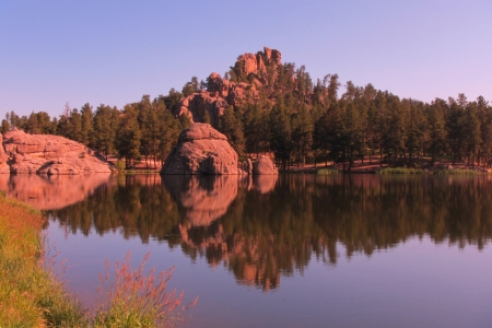 Beautiful still waters of Sylvan Lake in South Dakota  photo