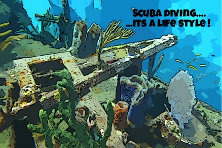 Graphic design poster with text created from my underwater photography