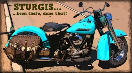 Sturgis 매년 오토바이 랠리를 축하하는 오토바이 포스터