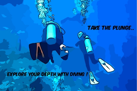 Digital art from my photography presented as a Scuba Diving Poster